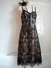 OASIS sz12  Vintage 1920's Deco Net Lace Ribbon Black Nude Victorian Slip DRESS