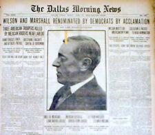 1916 headline display newspaper DEMOCRATS NOMINATE WOODROW WILSON for PRESIDENT