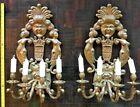 Antique Pair Renaissance CARYATIDS GREEN MAN FLEUR LYS GARGOYLE  BRASS Sconces