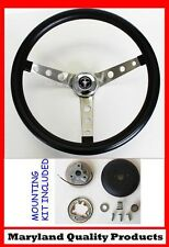 """1970-1978 Mustang Grant Black Steering Wheel 15"""" round holes Mustang cap"""