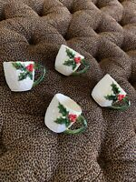 4 Vintage Lefton Christmas Holly Berry Cups 1970 Excellent White Red Green 3D