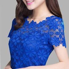 Women Elegant Lace Crochet Floral Sheer Short Sleeve Slim Top T Shirt Blouse Tee