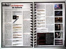 COUPURE DE PRESSE-CLIPPING :  BAGUETTES DE BATTERIE [2pages] 08-09/2008