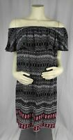 Beach Lunch Lounge Womens Size M Black/Red Evi Off-the-Shoulder Shift Dress