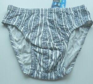 Men's Everyday Briefs Jocks Quality Underwear Blue White Geo Print Sz: S BNWT