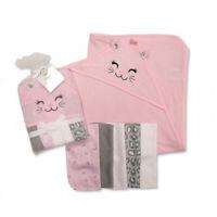Baby Pink Kitten Cat Hooded Towel 5 Wash Cloths Girls Bath Shower Set
