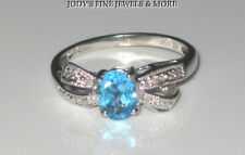 EXQUISITE ESTATE 10K WHITE GOLD BLUE TOPAZ & DIAMOND LADIES RING HDS Size 6
