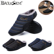 Mens Slippers Slip On Plush Soft Winter Warm Home Indoor Shoes Non Slip US SIZE