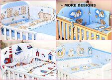 BLUE BABY BOY NURSERY COT  SET - 3 PC - BUMPER/QUILT COVER/PILLOW CASE