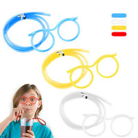 Details about  Cute Funny Clear Flexible Glasses Eyeglasses Straw Drinking Wate