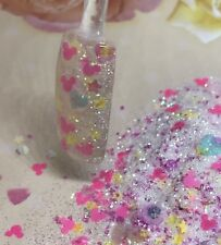 glitter mix acrylic gel nail art         FAMOUS EARS please Read Full Listing!!!