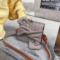 Women Plaid Shoulder Handbag Fashion Winter Wool Cross Body Small Girl Flag Bags