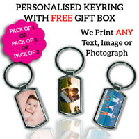 3X Personalised Printed Family Baby PHOTO TEXT IMAGE Chrome Metal Keyring Gift