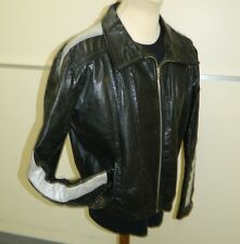 Distressed Brown leather vintage Seventies biker jacket size 44 / XL (T5014)