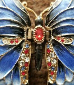 Kingspoint Designs BUTTERFLY Austrian Crystals Enamel Trinket Box Necklace 62496