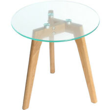 Charles Jacobs Round Glass Coffee Side Table Solid Oak Wood Leg 40cm Diameter