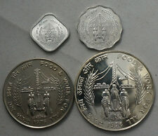 INDIA 5 10 Paise & 10 50 Rupees 1976 Silver Set FAO Tractor