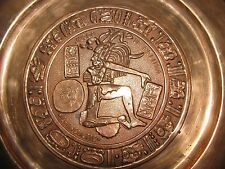 Vintage - Azteca Juego De Pelota Chincultic Mayan Ball Player Copper Plate!!