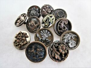12 Antique Victorian Steel Cut Buttons - Each a Different Flower Design