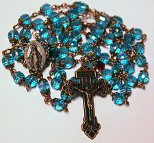 "Antique Copper Blue Czech Crystals 27 1/2"" Rosary,Rosario,Handmade & free Gift"