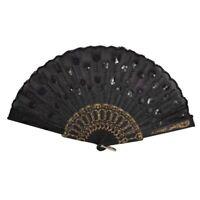 Black Plastic Frame Embroidery Floral Detail Folding Hand Fan W4Y4