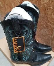 Ariat Heritage Vintage  X Toe Black / Green Western Boots -  #10005918 - Size 8