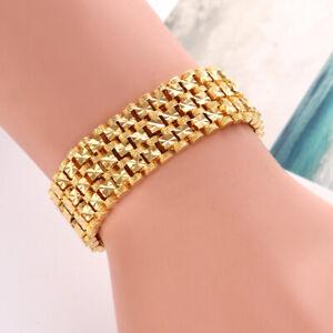 """Women's/Men's Bracelet 8"""" Watch Chain 18K Yellow Gold Filled 18MM Link Jewelry"""