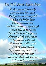 We Will Meet Again Nan Memorial Graveside Poem Card & Free Ground Stake F131