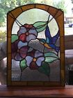 Vintage+Humming+Bird+%C2%A0Floral+Stained+Glass+%C2%A04+%C2%A0Small+%C2%A0Minor+Cracks.+%C2%A0