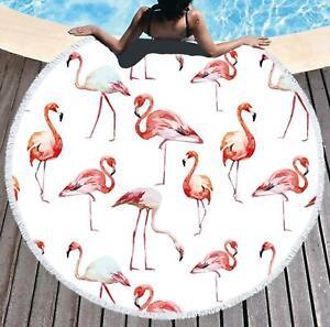 3D White Flamingo ZHUB1357 Summer Plush Fleece Blanket Picnic Beach Towel Zoe