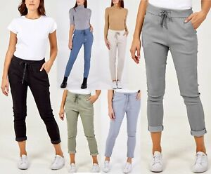 LADIES ITALIAN STRETCH PLAIN MAGIC COMFY LAGENLOOK TROUSERS JOGGERS PANTS NEW