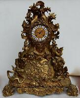 1840′ Pendule Rocaille en Bronze par Denier à Paris « Un Monde Aquatique »