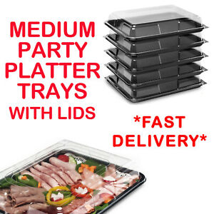 Medium Plastic Sandwich Trays Platters With Lids For Party Food Buffet Catering