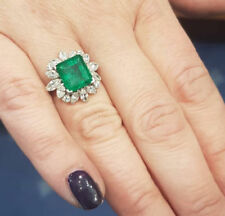 Halo Engagement Ring Sterling Silver Floral Antique Green Asscher Cut Marquise