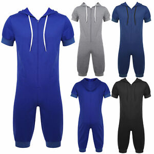 Mens Jumpsuits ShortsComfy Short Sleeve Hooded Zipper Rompers Bodysuit Pajamas