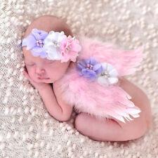 Baby Girl Newborn Angel Wings Headband+Tutu Skirt Costume Photo Prop Outfit