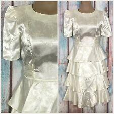 Vintage 1980s Satiny Tjuniors Drop Waist Ivory Dress Size 5/6