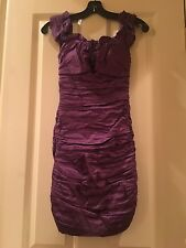 BCBG Max Azria Purple Ruched Fitted Dress Size 0