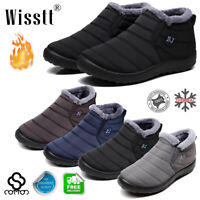 Mens Winter Waterproof Warm Flats Fur Lined Wedge Ankle Boots Soft Snow Shoes AU