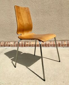 Vintage IKEA Modern Wood and Chrome Chair