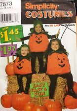 Simplicity Sewing Pattern Costume 7873 Pumpkin Halloween Kids S M L