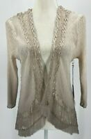 Komarov Womens XL Open Cardigan Lace Detail Champagne Ombre Crinkle Pleats NWT