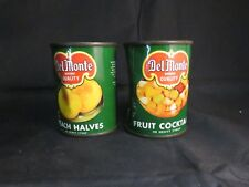 Pair of VTG DelMonte Tin Cans For Childs Toy Kitchen Set, Peach & Fruit Cocktail