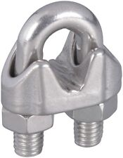 """National Hardware N830-314 Wire Cable Clamp, Stainless Steel, 1/4"""""""