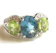Clyde Duneier London Blue Topaz & Peridot Ring BIG Sterling Silver CID 925 6.5