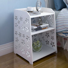 3 Layer End Side Bedside Table Nightstand Organizer Wooden Cabinet Storage White