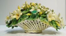"LX115 ITALY ART POTTERY HANDMADE WOVEN FLORAL BASKET, SMALL 5"" LONG"