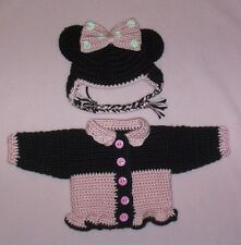 """American Girl Doll Crochet Pink Minnie Mouse Sweater & Hat Fit American Girl 18"""""""