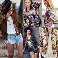 US Ladies Women's Long Sleeve Short Jacket Coat Biker Blazer Outwear Casual Slim