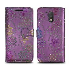 Leather Wallet Protect Book Magnet Stand Phone Case Cover for LUMIA 435 535 735 Nokia 6 Metallic Flower Purple - Glitter Embossed Twinkle
